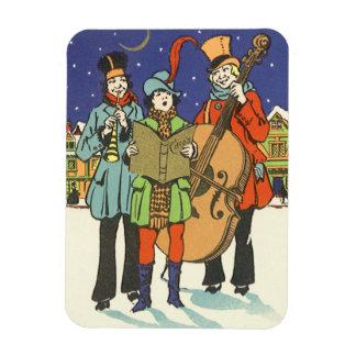 Vintage Christmas, Musicians Caroling with Music Rectangular Photo Magnet