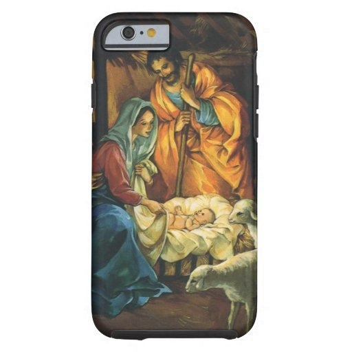 Vintage Christmas Nativity, Baby Jesus in Manger iPhone 6 Case