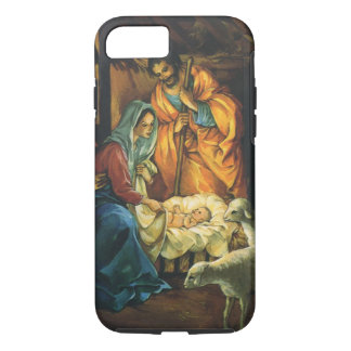 Vintage Christmas Nativity, Baby Jesus in Manger iPhone 7 Case