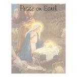Vintage Christmas Nativity, Mary Joseph Baby Jesus Customized Letterhead