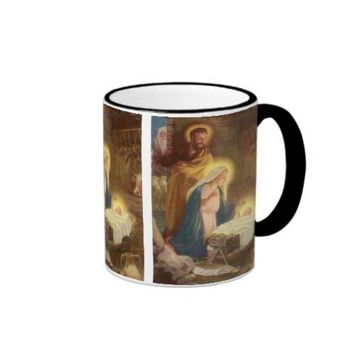 Vintage Christmas Nativity, Mary Joseph Baby Jesus Mugs