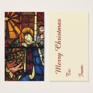 Vintage Christmas Nativity Scene in Stained Glass Business Card