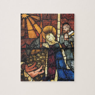 Vintage Christmas Nativity Scene in Stained Glass Puzzle
