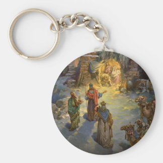 Vintage Christmas Nativity with Visiting Magi Basic Round Button Keychain