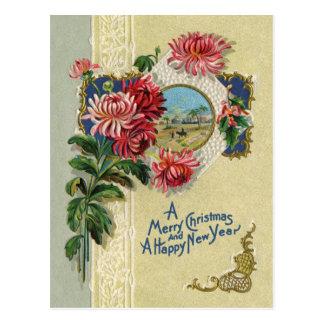 Vintage Christmas/New Year Floral Bethlehem Scene Postcard