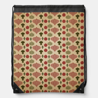 Vintage Christmas Ornament Pattern Drawstring Bag