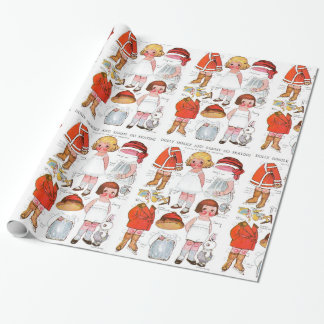 Vintage Christmas Paper Dolls Gift Wrap