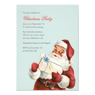 Vintage Christmas Party Jolly Santa Blue Holiday Card