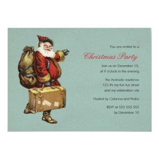 Vintage Christmas Party Santa Claus Green Holiday Card