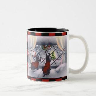 Vintage Christmas Patriotic Scottie Dogs on Checks Two-Tone Coffee Mug