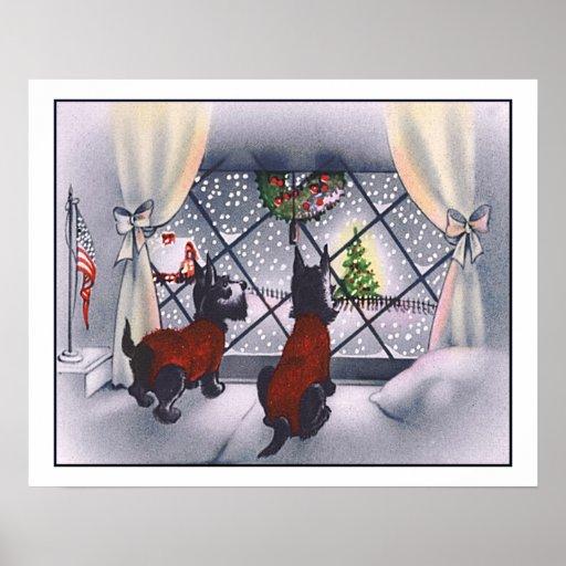 Vintage Christmas Patriotic Scottie Dogs Posters