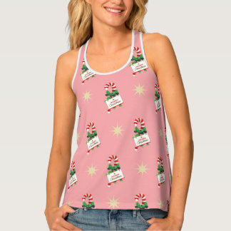 Vintage Christmas Pattern, Candy Canes with Pink Tank Top