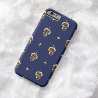 Vintage Christmas Pattern with a Lantern on Blue Barely There iPhone 6 Case