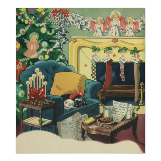 Vintage Christmas Pets in the Living Room Poster