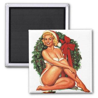 Vintage Christmas Pinup Girl Magnet