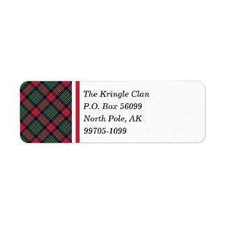 Vintage Christmas Plaid Return Address Label