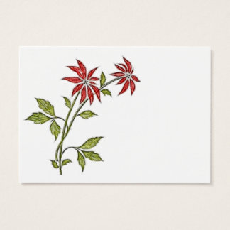 Vintage Christmas Poinsettia Business Card