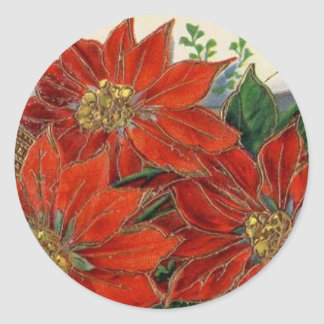Vintage Christmas Poinsettia Holiday Stickers