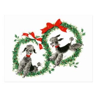 Vintage Christmas Poodles Retro Holiday Postcard
