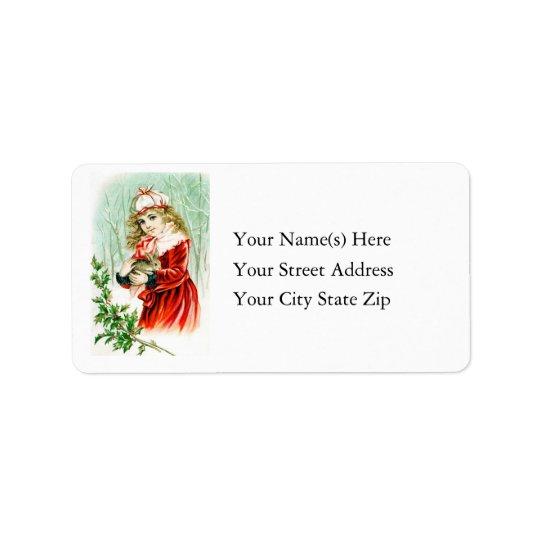 Vintage Christmas Rabbit & Girl Address Label