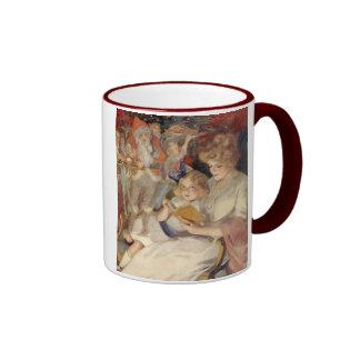 Vintage Christmas, Reading Bedtime Stories Ringer Coffee Mug