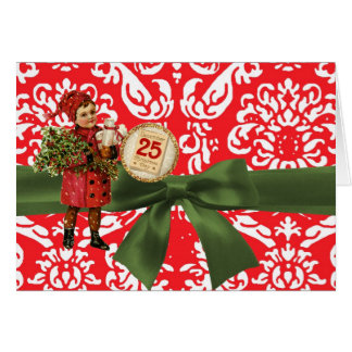 Vintage Christmas Red Damask Note Card