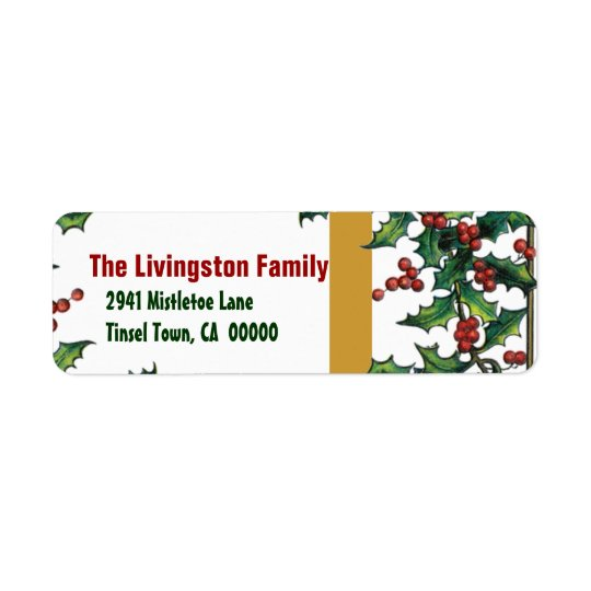 Vintage Christmas Red Green Gold Holly Family G401 Return Address Label