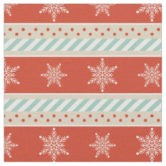 Vintage Christmas Red Mint Snowflakes Pattern Fabric