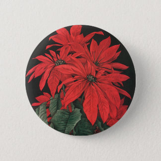 Vintage Christmas Red Poinsettia Plants Flowers 2 Inch Round Button