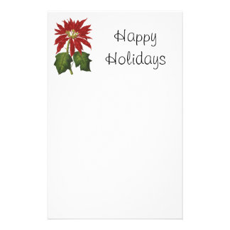 Vintage Christmas, Red Poinsettia Winter Plant Customized Stationery