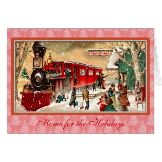 Vintage Christmas Red Train Card