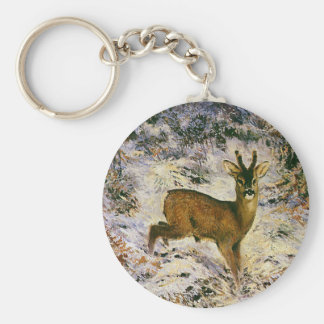 Vintage Christmas Reindeer in Winter Forst Snow Keychain
