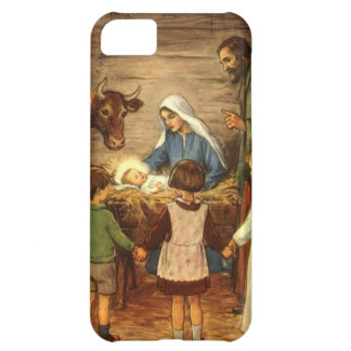 Vintage Christmas, Religious Nativity w Baby Jesus iPhone 5C Cases