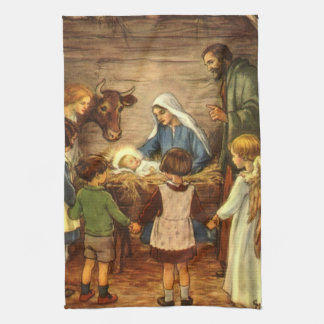 Vintage Christmas, Religious Nativity w Baby Jesus Kitchen Towel