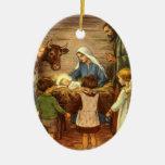 Vintage Christmas, Religious Nativity w Baby Jesus Ceramic Oval Ornament