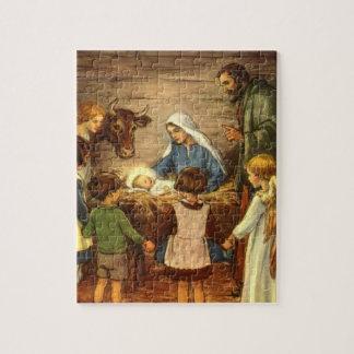 Vintage Christmas, Religious Nativity w Baby Jesus Puzzle