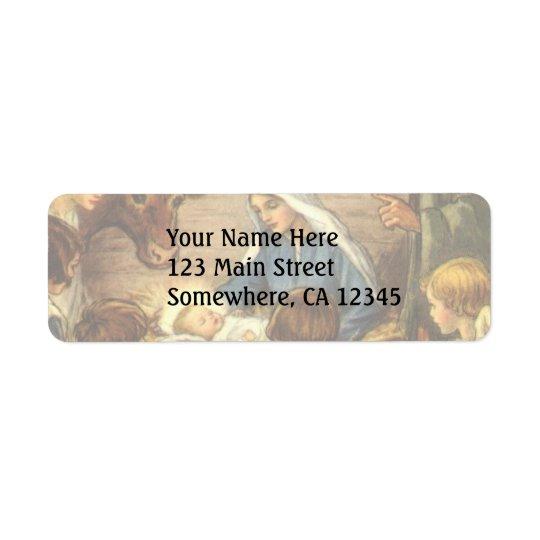 Vintage Christmas, Religious Nativity w Baby Jesus Return Address Label