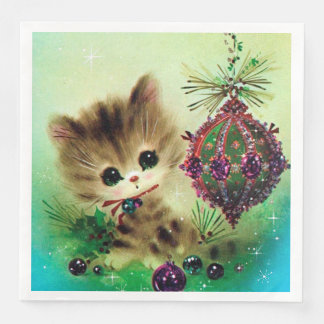Vintage Christmas retro bulb cat party napkins Paper Napkin