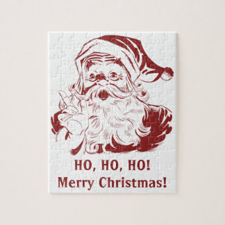 Vintage Christmas, Retro Jolly Santa Claus in Red Jigsaw Puzzle