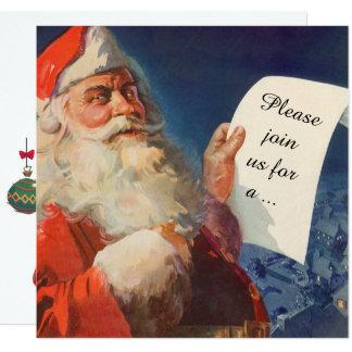 Vintage Christmas, Retro Santa Claus Invitation