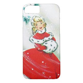 Vintage Christmas retro woman seven phone case