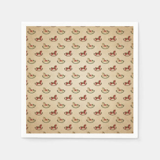 Vintage Christmas Rocking Horse Pattern Disposable Napkin