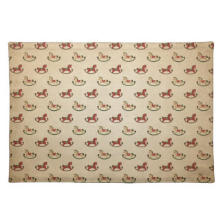 Vintage Christmas Rocking Horse Pattern Placemat