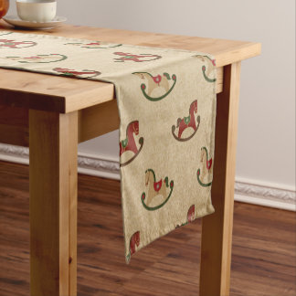 Vintage Christmas Rocking Horse Pattern Short Table Runner