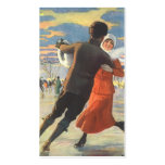 Vintage Christmas, Romantic Couple Ice Skating Double-Sided Standard Business Cards (Pack Of 100)