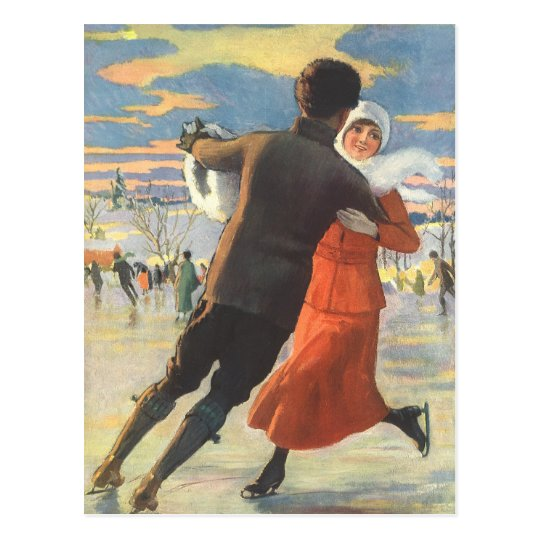 Vintage Christmas, Romantic Couple Ice Skating Postcard
