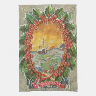 Vintage Christmas Sailboat Wreath Hand Towels