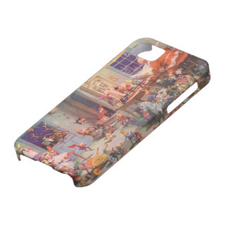 Vintage Christmas, Santa Claus and Elves Workshop iPhone 5 Cover