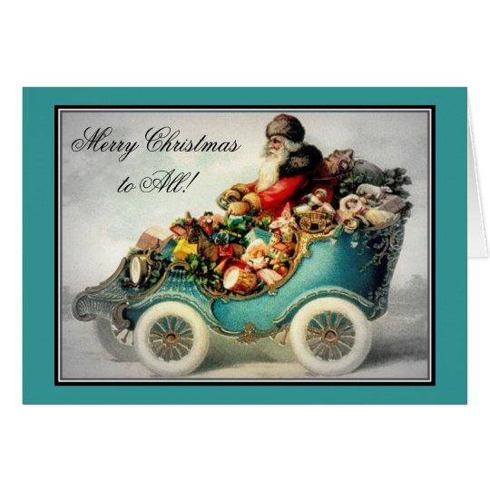 Vintage Christmas Santa Claus Car sleigh- cards