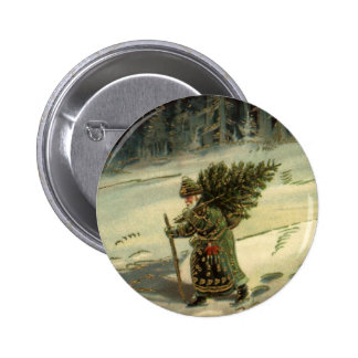 Vintage Christmas Santa Claus Carrying a Tree Pinback Buttons